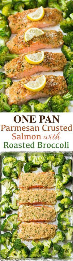 Parmesan Crusted Salmon & Broccoli {One Pan Recipe!} – Cooking Classy Single Sheet Pan Parmesan Crusted Salmon with Roasted Broccoli – everything is roasted together on one pan so clean up is a breeze! It's healthy and it tastes incredible! Salmon Recipes, Fish Recipes, Seafood Recipes, Cooking Recipes, Healthy Recipes, Quick Recipes, Cooking Tips, Indian Recipes, Broccoli Recipes