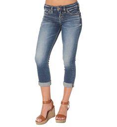 Silver Jeans Aiko Straight Capris in Medium Dark Wash L43804SSX397