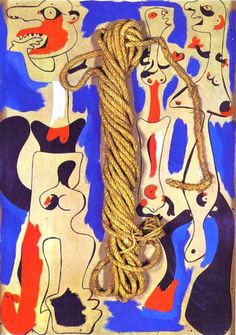 'Rope and People I', öl von Joan Miro (1893-1983, Spain)