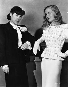 Hollywood Fashion designer, Edith Head with Veronica Lake.