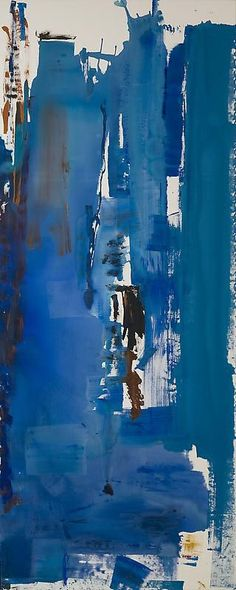 'Blue Reach' (1974) by American abstract expressionist painter Helen Frankenthaler (1928-2011). Acrylic on canvas, 59 x 177 1/2 in. via Ameringer | McEnery | Yohe