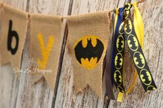 Burlap Batman Birthday Name Banner, Baby Shower Banner, Marvel Name Banner, Boy Birthday Banner, Justice League Banner, Black and Yellow by PhotograMomProps on Etsy https://www.etsy.com/listing/246190803/burlap-batman-birthday-name-banner-baby