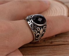 Batu akik hitam, Onyx cincin batu, Pria Band yang tebal, Perhiasan baja titanium, Laki laki Fleur De Lis gaya Vintage kepribadian Bijoux hadiah terbaik di Cincin dari Perhiasan AliExpress.com | Alibaba Group
