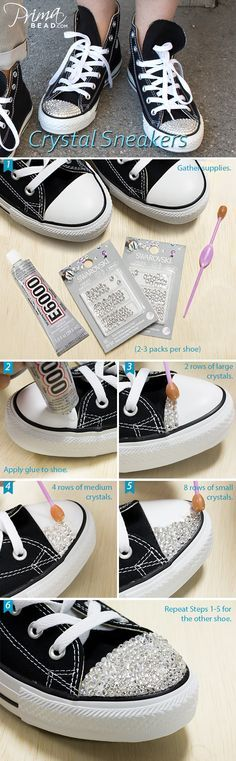 Decorating your converse Zapatos Bling Bling, Rhinestone Converse, Bling Shoes, Prom Shoes, Wedding Shoes, Converse Brillantes, Diy Fashion, Fashion Shoes, Bling Converse