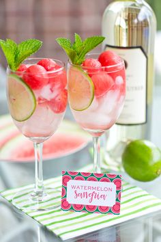 Sip in style this summer with this Easy Watermelon Sangria! It's refreshing on a hot day and easy to make in minutes!