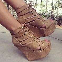 Tan Lace Up Sandal Wedges