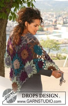 """Crochet DROPS shawl in """"Vienna"""". ~ DROPS Design Yeah...I know... another DROPS pin... but I haven't been back here in months and wow!"""