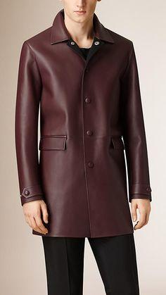 Burgundy Bonded Leather Car Coat