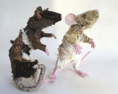 Barbara Franc - a little larger than life size rats made with textiles and embroidery threads on a wire armature