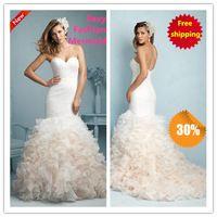 2015 Mermaid Wedding dress Sexy Organza moda Ruffles plisado del amor Sweetheart blanco / marfil Vestido de novia / Vestido de noiva