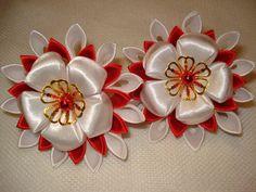 Kanzashi flowers Set of 2 ponytailsTsunami Kanzashi by AlexaStyle