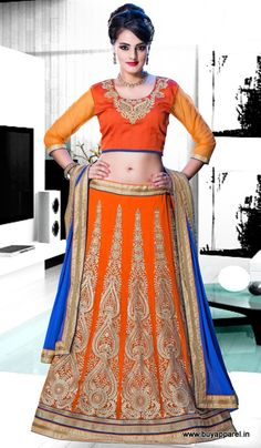 Designer Orange Colour Net Party Wear Lehenga Choli Buy Sarees