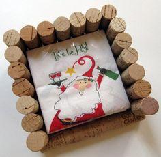 Wein-Korken-Bilderrahmen-Servietten-Ständer-Ideen-Weihnachtsmann-Motiv