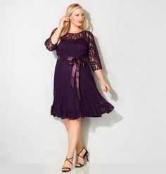 Lace Seamed Flounce DressLace Seamed Flounce Dress,