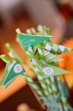 Paper straw flags.  Pixie stix instead??