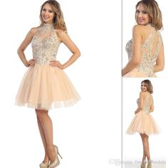 c1e2c28dff32 ... Champagne Prom Dresses Tulle Halter Embellished Collar Beaded Short  Ball Gown Homecoming Graduation Gowns Vestido De Baile Pink Prom Dresses Uk Von  Maur ...