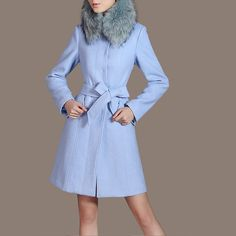 Elegant Light Blue Outerwear Women Winter Coat Custom Made Peacoat Button Down with Belt Vintage Clothing CW94