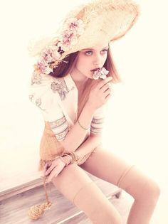 Frida Gustavsson by Andreas Sjodin for Vogue Nippon June 2010: Morning Flowers