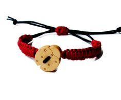 Bracelet Baby bracelet Red black Ladybug rustic bracelet Hemp wish Nature Simple Friendship Bracelet Ecofriendly children jewelry