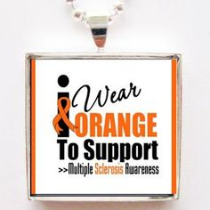 I Wear Orange to Support Multiple Sclerosis Awareness Glass Silver Tile Pendant Necklace with Silver Chain: Jewelry: Amazon.com