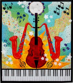 Intermediate Quilts: Second Place, 'All That Jazz' by Mary Kay Price, 2012 Northwest Quilting Expo Quilting Tips, Quilting Projects, Sewing Projects, Sewing Ideas, African Quilts, Music Images, Boy Quilts, Sketch Painting, Quilt Patterns Free