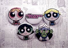 POWERPUFF GIRLS 1Inch Pinback Button Set by kungfugrip on Etsy, $3.99
