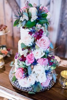 Rustic floral wedding cake from Kylee + Ryan's rustic ranch wedding at the Kleffner Ranch in Helena, Montana. Chic Wedding, Floral Wedding, Perfect Wedding, Rustic Wedding Inspiration, Wedding Ideas, Plain Wedding Dress, Helena Montana, Montana Wedding, Floral Cake
