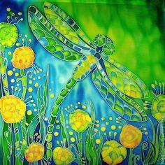 """Панно батик """"Июньская стрекоза"""" - Батик,холодный батик,лето,стрекоза,зелень"""
