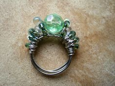 Mermaid's Winter Beaded Cocktail Ring Silver Wire by PiggleAndPop, $20.00