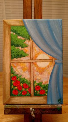Cottage House Window Sunset Original Acrylic Flowers Painting Modern Farmhouse Wall Decor Shabby Chic Country Rustic Decor Bright Colors Art This Is An Original Acrylic Canvas Painting Cottage Window Made On Simple Canvas Paintings, Small Canvas Art, Easy Canvas Painting, Mini Canvas Art, Acrylic Canvas, Diy Painting, Easy Canvas Art, Detailed Paintings, Beginner Painting