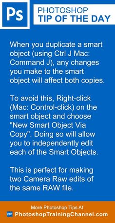 When you duplicate a smart object (using Ctrl J Mac: Command J), any changes you make to the smart object will affect both copies. To avoid this, Right-click (Mac: Control-click) on the smart object and choose 'New Smart Object Via Copy'. Doing so will allow you to independently edit each of the Smart Objects. This is perfect for making two Camera Raw edits of the same RAW file!