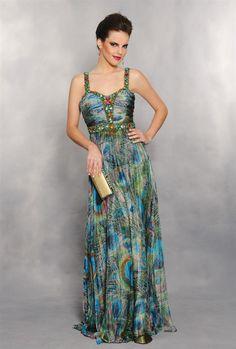 Vestido longo em seda pura com estampa de bicho estilizado. Modelo que veste bem todas as formas. Cod. 0323