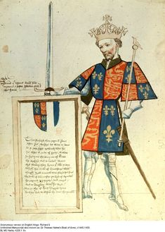 This manuscript shows a man dressed for a tournament. Tournaments were organized by the french kings and were experienced fluently throughout europe.