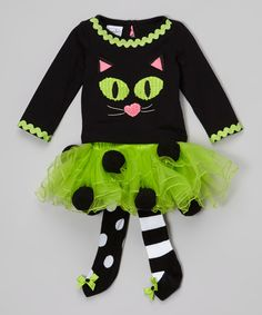 Look at this Black & Green Cat Tee & Skirted Tights - Infant & Toddler on #zulily today!