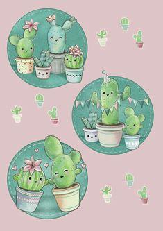 Ideas For Painting Cactus Cute Cactus Drawing, Cactus Art, Cactus Plants, Indoor Cactus, Garden Cactus, Cacti, Cute Wallpapers, Wallpaper Backgrounds, Iphone Wallpaper