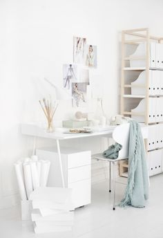 my scandinavian home: home office- white, light wood + mint touches Home Office Space, Office Workspace, Home Office Design, Home Office Decor, House Design, Office Ideas, Office Spaces, Office Furniture, Design Room