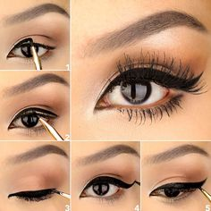 Have you always wanted to achieve that beautiful cat eye look with your eyeliner? If you're having a hard time, there are some easy cat eyes makeup tips you can try out. These tips will help you achieve the look every time in a matter of minutes. Cat Eye Makeup, Eyeliner Brush, Eye Makeup Tips, Winged Eyeliner, Makeup Ideas, Gem Makeup, Eyeliner Makeup, Makeup Style, Makeup Tutorials
