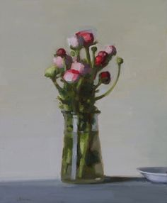 "The work of Stanley Bielen has me looking for oil painting classes. ""Large Ranunculus"" viewed at The Harrison Gallery."