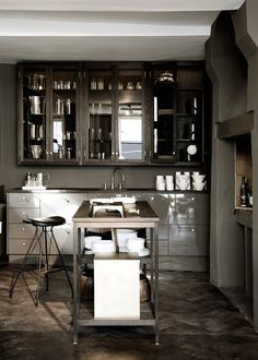 "Rue Verte store kitchen in Copenhagen. Paint from Zoffany ""City Grey"""