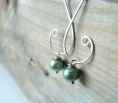 Hammered Sterling Clef Earrings -Aqua Pearl | fuchsiabloomstudio - Jewelry on ArtFire