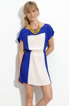 Lush Colorblock Pleated Dress (Juniors) | Nordstrom