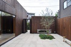 リビング前の中庭には玄関脇の戸からも入ることができる。中庭にはオリーブの木とハーブが植えられている。