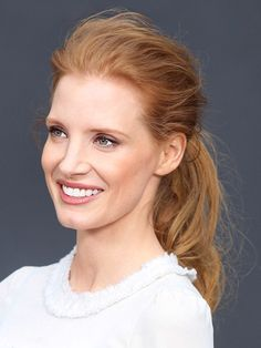 """LIGHT AND AIRY Jessica Chastain  Chastain's bedhead ponytail is the perfect combination of effortless and sexy, and the no-fuss look works with any texture. Just apply dry shampoo to your roots to eliminate grease and flatness (Klorane Gentle Dry Shampoo with Oat Milk is great), gather hair up, and lightly ruffle the top with your fingers for a tousled appearance. """"Just play with it until you get your desired disheveledness,"""" says Fugate."""