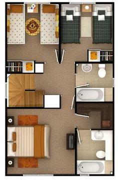 Plano de bonito diseño de cada de dos pisos de 95 m2
