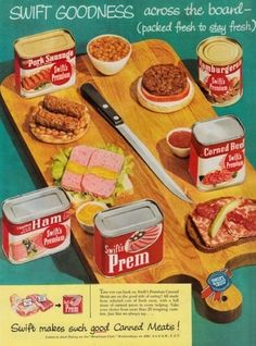 Swift Canned Meat Ad, spent a lot of time frying spam for my ltitle cousins when i babysat them. love the key on the can. Swift Canned Meat Ad, spent a lot of time frying spam for my ltitle cousins when i babysat them. love the key on the can. Vintage Advertisements, Vintage Ads, Vintage Food, Retro Ads, Vintage Stuff, Vintage Decor, Retro Recipes, Vintage Recipes, Fried Spam