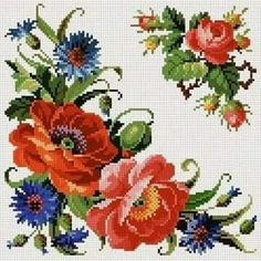 Flowers pattern embroidery watches Ideas for 2019 Cross Stitch Rose, Cross Stitch Borders, Cross Stitch Flowers, Cross Stitch Charts, Cross Stitch Designs, Cross Stitching, Cross Stitch Embroidery, Embroidery Patterns, Hand Embroidery