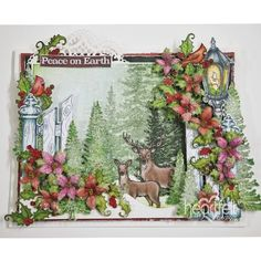 Woodland Christmas made w/ Festive Holly collection from #HeartfeltCreations #Christmas