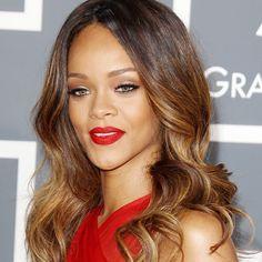 Rihanna with warm hair highlights - Hair Colour Spring Summer 2013