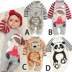 100% Cotton Baby Boys Girls Long sleeve Romper stripe panda jumpsuit clothes newborn infant baby clothing Christmas gift