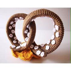 oliviartcreations crochet pretzel squid sculpture art